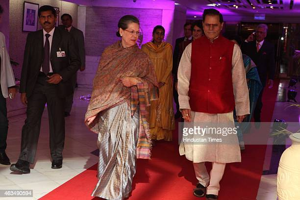 Congress president Sonia Gandhi and T Subbarami Reddy during the wedding reception of his grandson Rajiv Reddy and Kavya at Ashoka Hotel on February...