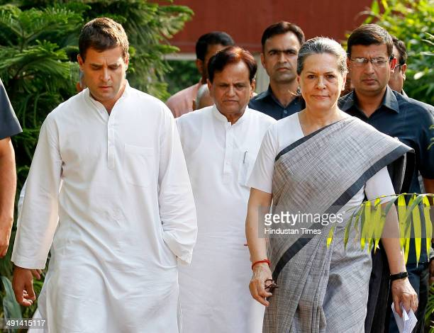 Congress President Sonia Gandhi and Vice President Rahul Gandhi arrive to address the media after the results at AICC headquarter on May 16 2014 in...