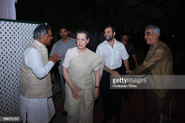Congress President Sonia Gandhi and VicePresident Rahul Gandhi arrives at the Wedding ceremony of Lawyer Ashok Basoya and ex Delhi University Student...