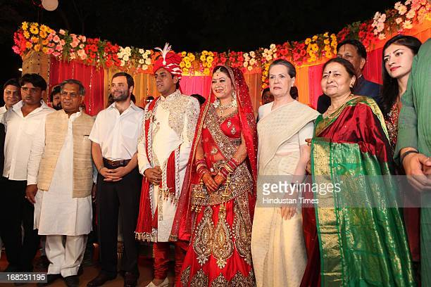 Congress President Sonia Gandhi and VicePresident Rahul Gandhi with couple Ashok Basoya and Ragini Nayak during their wedding ceremony on May 5 2013...