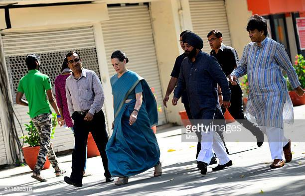 Congress President Sonia Gandhi arrives to cast her vote for general election of the 16th Lok Sabha 2014 on April 10 2014 in New Delhi India
