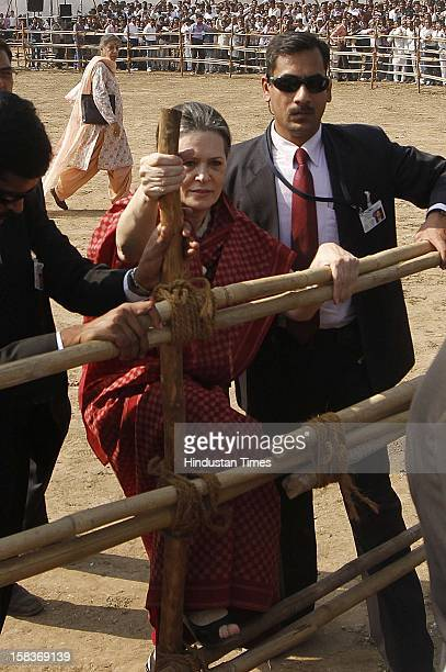 Congress President Sonia Gandhi during an election campaign for the Gujrat state assembly elections on December 14 2012 in Kalol India Polls in...