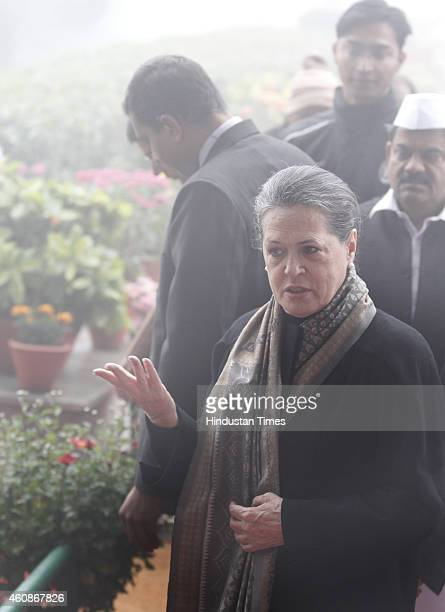 Congress President Sonia Gandhi during Congress Partys 130th foundation day at AICC Headquarters during heavy fog on December 28 2014 in New Delhi...