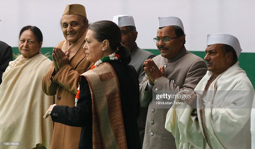 Congress president Sonia Gandhi during the Indian National Congress party's 128th foundation day function at AICC headquarters on December 28, 2012 in New Delhi, India.