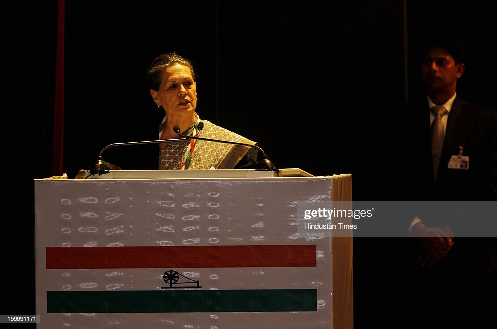 Congress President Sonia Gandhi giving her inaugural speech during the Chintan Shivir at Birla Auditorium, Jaipur on January 18, 2013 in Rajasthan, India. The Congress' brain-storming session began in Jaipur today and the focus is on the 2014 elections and Rahul Gandhi's role in leading the party in the battle. The ruling party hopes to emerge from the two-day-long session armed with strategy on, among other things, how to reconnect with an angry urban middle class.