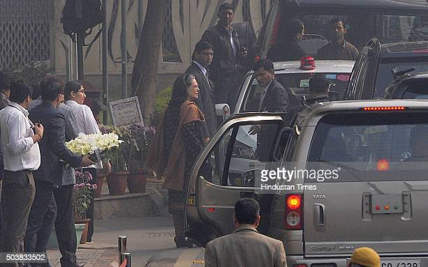 Congress President Sonia Gandhi leaves after paying floral tribute to Jammu and Kashmir Chief Minister Mufti Mohammad Sayeed on January 7 2016 in New...