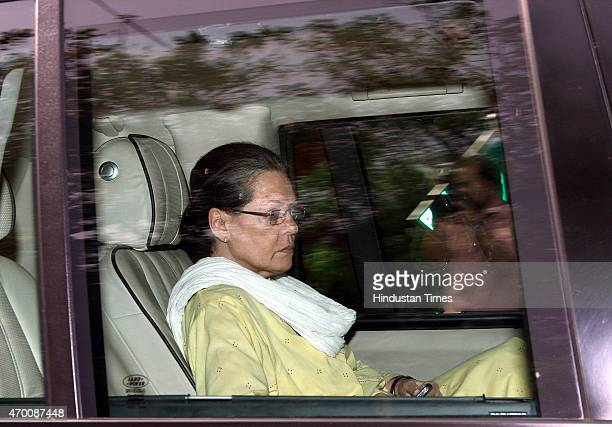Congress President Sonia Gandhi leaves from Rahul Gandhi's residence on April 17 2015 in New Delhi India Rahul Gandhi and party president Sonia...