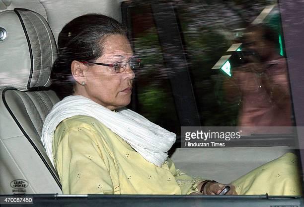 Congress President Sonia Gandhi leaves from Rahul Gandhi's residence on April 17, 2015 in New Delhi, India. Rahul Gandhi and party president Sonia...