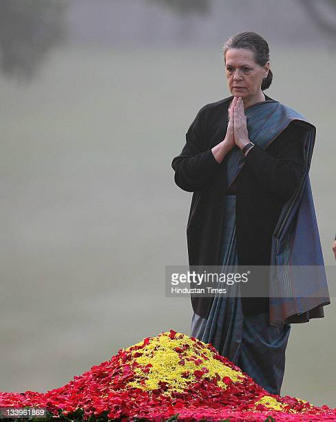 Congress President Sonia Gandhi paying tributes to Indira Gandhi on her 94th birth anniversary at her memorial Shakti Sthal on November 19 2011 in...