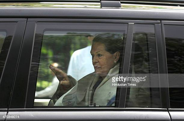 Congress President Sonia Gandhi proceeding to address the farmers rally to galvanise protests against National Democratic Alliance's land acquisition...