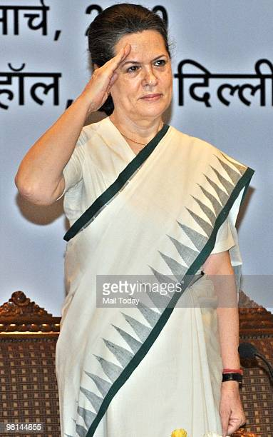 Congress President Sonia Gandhi salutes during the National Covention of Congress Seva Dal in New Delhi on March 29 2010
