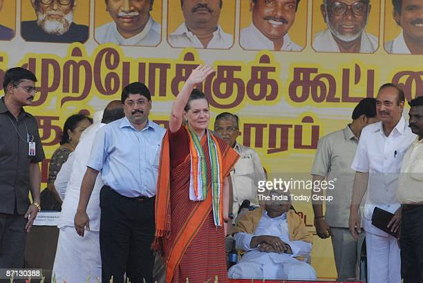 Congress president Sonia Gandhi waves at her supporters during a poll rally on May 10 2009 in Chennai India India is the world's largest democracy...