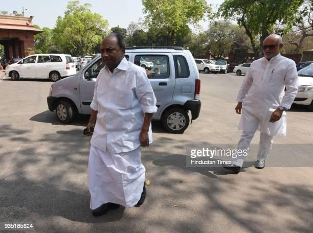 Congress Rajya Sabha MP AK Antony and Member of the Parliament of India representing Madhya Pradesh in the Rajya Sabha Satyavrat Chaturvedi during...