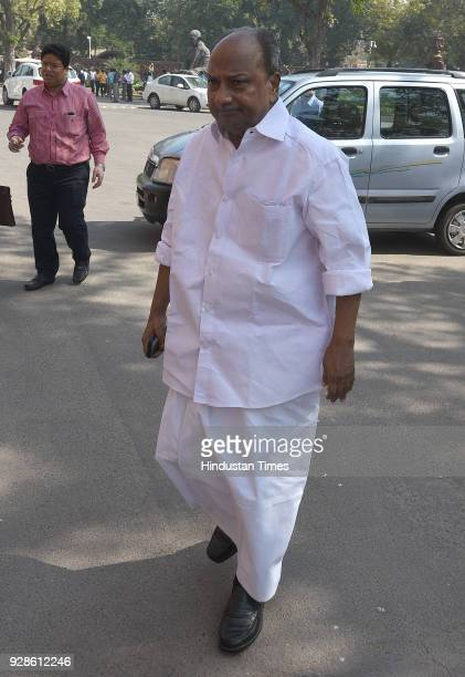 Congress Rajya Sabha MP AK Antony during the Parliament Budget Session on March 7 2018 in New Delhi India