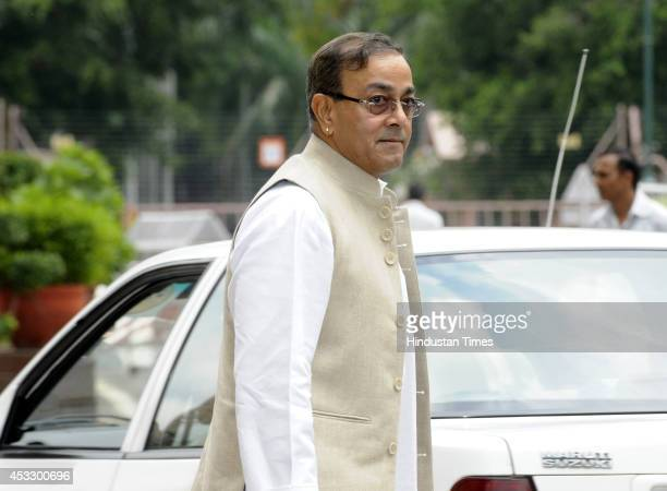 Congress Rajya Sabha MP Sanjay Singh at Parliament during the budget session on August 7 2014 in New Delhi India Amid objections by opposition two...