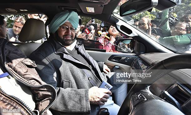Congress senior leader and former CM Punjab Captain Amarinder Singh talking to media persons after the party senior leaders meeting on five state...