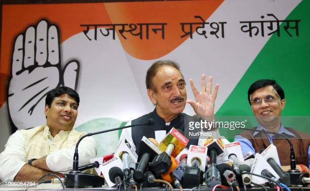 Congress Senior Leader Gulab Nabi Azad addressing the media person during the press conference at PCC office in Jaipur Rajasthan India on Tuesday Nov...