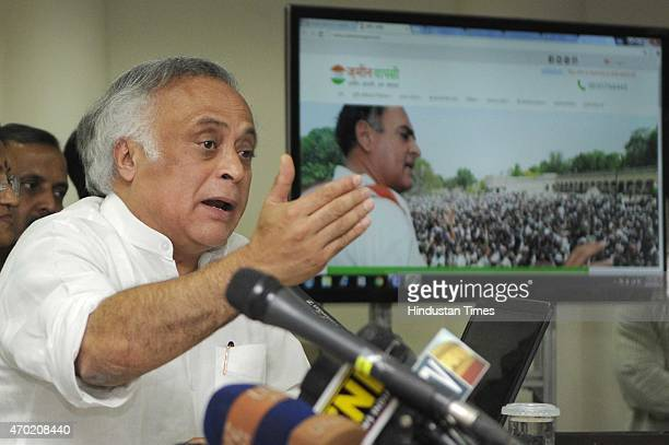 Congress senior leader Jairam Ramesh, with former Defence Minister A. K. Antony talking with media person after launching the Zameenwapsi.com website...