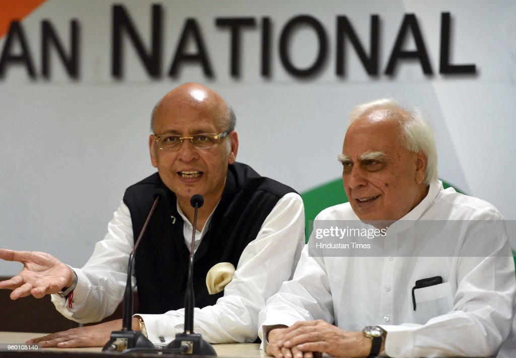 Joint Press Conference Of Congress Senior Leaders Abhishek Manu Singhvi And Kapil Sibal