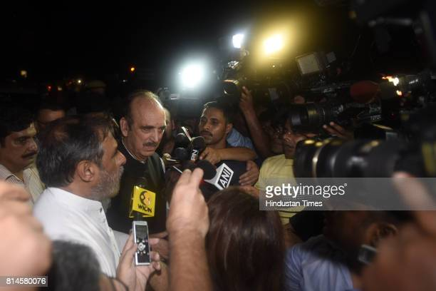 Congress senior leaders Ghulam Nabi Azad Anand Sharma talking to media persons after attending the all party meeting at Union Home Minister Rajnath...