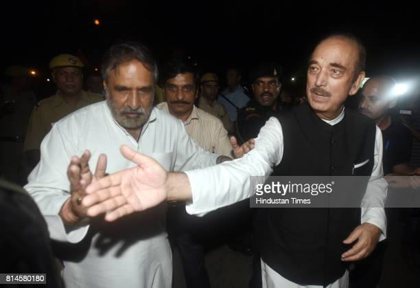Congress senior leaders Ghulam Nabi Azad Anand Sharma talking to media persons after attending all party meeting at Union Home Minister Rajnath...