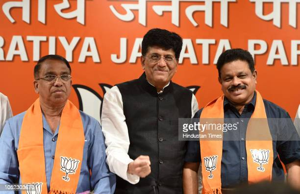 Congress sitting MLAs from Goa Subhash Shirodhkar and Dayanad Satope join Bharatiya Janata Party in presence of Union Minister Piyush Goyal at BJP...