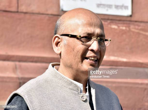 Congress spokesperson Abhishek Manu Singhvi arrives to attend the Winter Session in Parliament on January 9 2019 in New Delhi India The Constitution...
