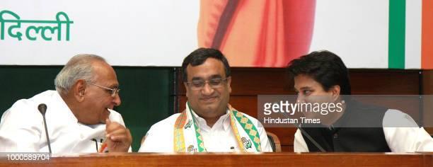 Congress Sr leader Motilal Bohra Ajay Maken Union Minister of State for Urban Development and Jyotiraditya Scindia Minister of State for...