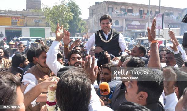 Congress supporters along with president Sachin Pilot to celebrate the win of party candidates in two Lok Sabha and one Assembly bypoll elections at...