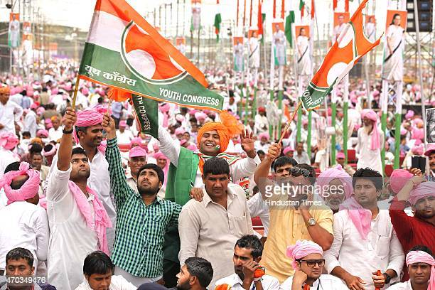 Congress supporters and farmers from all over the country during the farmers rally of Congress President Sonia Gandhi to galvanise protests against...