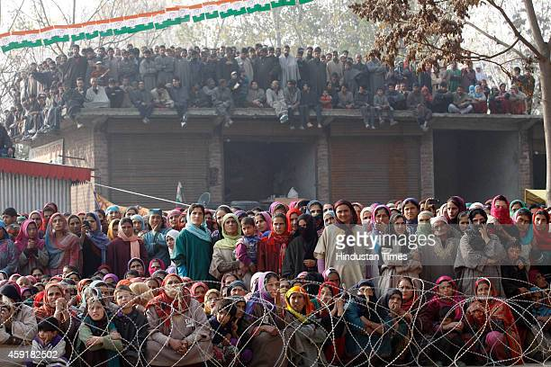 Congress supporters during an election rally addressed by Bollywood actor and Congress leader Raj Babbar party candidate Imtiyaz Ahmad Parrey and...