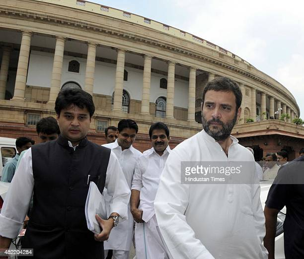 Congress Vice President and Lok Sabha Member of Parliament Rahul Gandhi with Lok Sabha MP Jyotiraditya Madhavrao Scindia and other party MPs leaves...