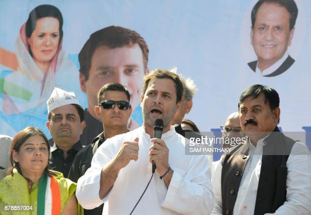 Congress Vice President Rahul Gandhi addresses a rally in Dahegam some 40km from Ahmedabad on November 25 2017 Voters in Indian Prime Minister...