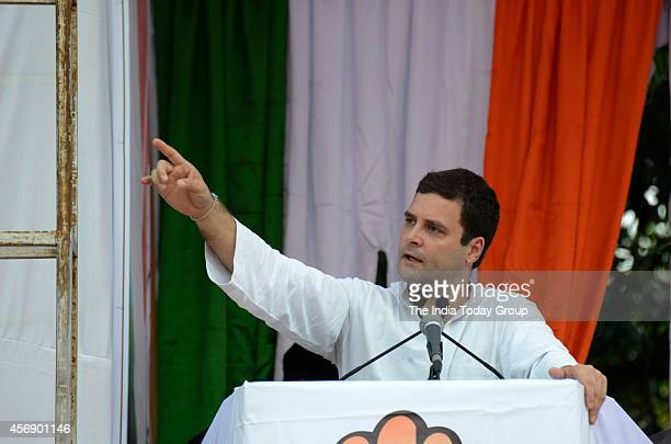 Congress vice president Rahul Gandhi addressing the election campaign rally in Mahad Maharashtra
