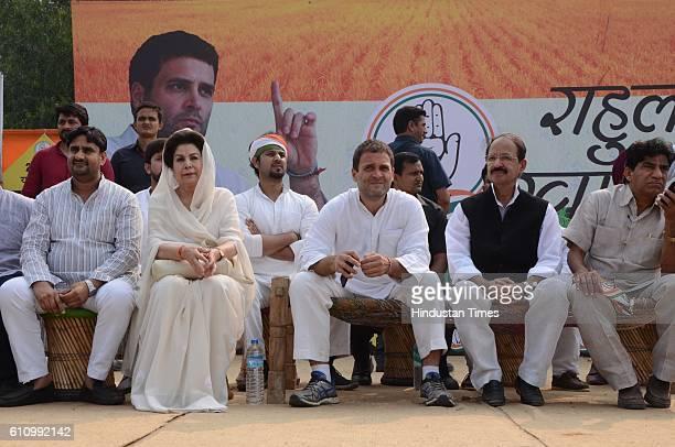 Congress Vice President Rahul Gandhi addressing the Khat Sabha at Kemri on September 28 2016 in Rampur India
