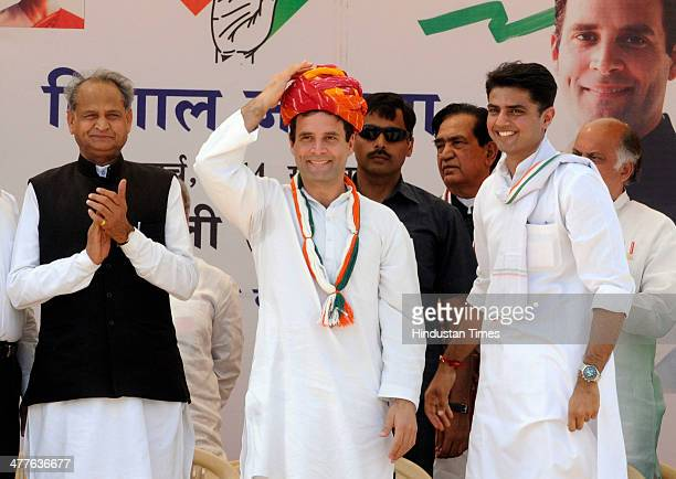Congress Vice President Rahul Gandhi along with former Rajasthan chief minister Ashok Gehlot and Rajasthan Congress President Sachin Pilot during his...