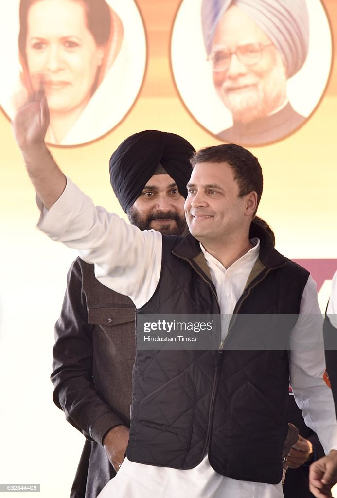 Congress Vice President Rahul Gandhi along with Navjot Singh Sidhu candidate from East constituency in Amritsar during a political rally at Majitha...
