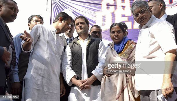 Congress Vice President Rahul Gandhi along with Rohith Vemula's mother Radhika and NSUI President Roji M John and others during a protest rally over...