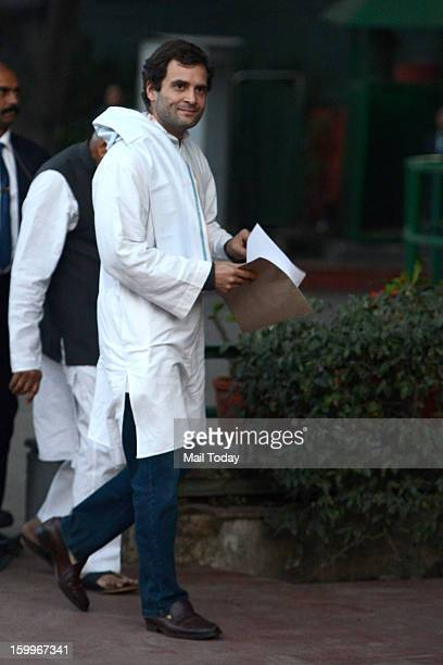 Congress Vice President Rahul Gandhi arrives at his office at AICC headquarters in New Delhi on Wednesday