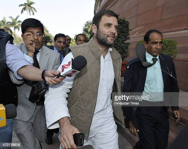 Congress Vice President Rahul Gandhi arrives to attend Parliament session on February 18 2014 in New Delhi India The Lok Sabha passed a contentious...