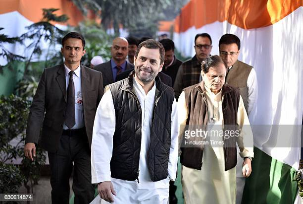 Congress Vice President Rahul Gandhi at 132nd Foundation Day of the Indian National Congress on at AICC Office on December 28 2016 in New Delhi India...