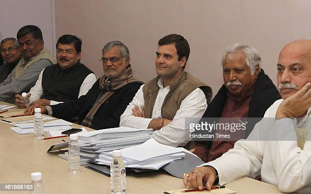 Congress Vice President Rahul Gandhi at a meeting with Screening Committee of the party at AICC headquarters on January 10 2014 in New Delhi India...
