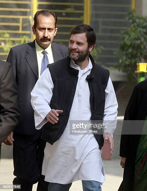 Congress vice president Rahul Gandhi comingout after casting his vote at a polling station during the Delhi Assembly Elections 2015 at Aurangjeb Lane...