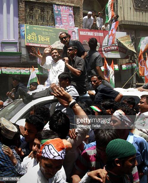 Congress Vice President Rahul Gandhi during a road show in support for Ajay Rai Lok Sabha election candidate from Varanasi constituency on May 10...