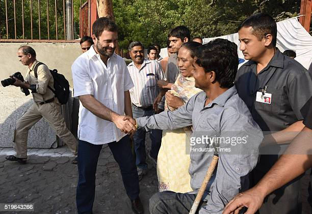 Congress Vice President Rahul Gandhi during the funeral of Kamla Advani wife of senior BJP leader LK Advani at Nigambodh Ghat on April 7 2016 in New...