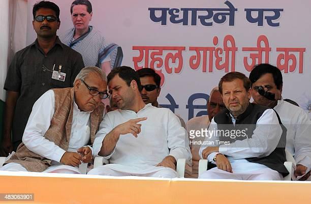 Congress Vice President Rahul Gandhi Haryana CM Bhupinder Singh Hooda and Karnal Lok Sabha Candidate Arvind Sharma during a public meeting on April 6...