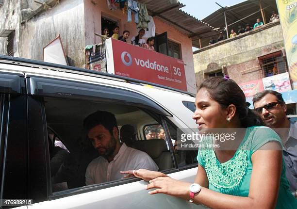 Congress Vice President Rahul Gandhi leaves after a meeting with fisherman community at Versova on March 6 2014 in Mumbai India India the worlds...