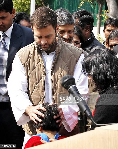 Congress Vice President Rahul Gandhi meeting with delegates from NGO at AICC headquarters on February 17 2014 in New Delhi India The Congress Vice...
