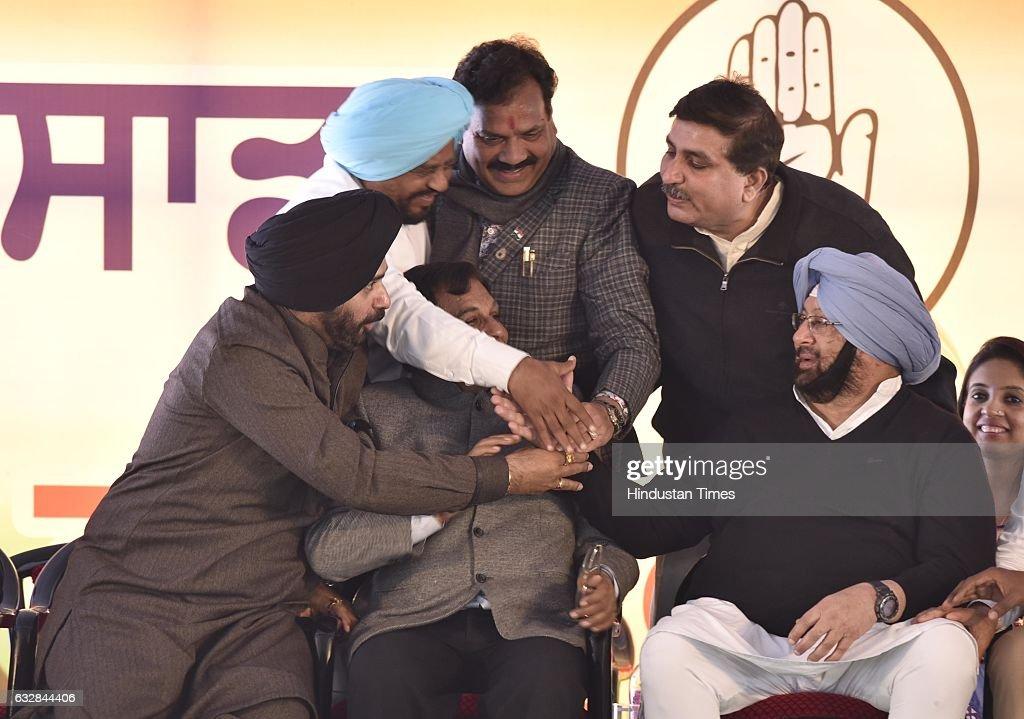 Congress Vice President Rahul Gandhi Punjab Punjab Pradesh Congress Committee President Captain Amarinder Singh along with Navjot Singh Sidhu...