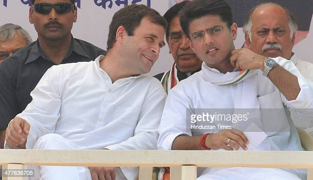 Congress Vice President Rahul Gandhi shares a lighter moment with Rajasthan Congress President Sachin Pilot during first public meeting after...